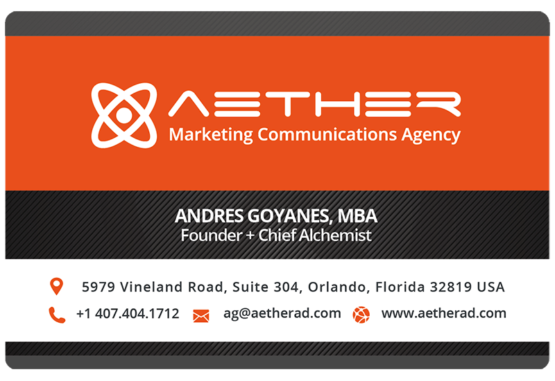 Andres Goyanes MBA (Business Card) AETHER Marketing Communications